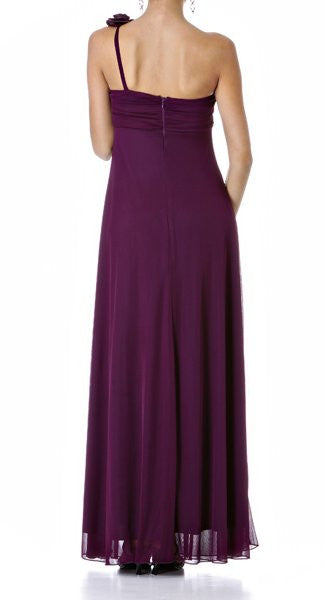 Rosette Strapped One Shoulder Long Plum Column Dress