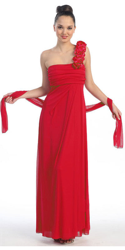 Rosette Strapped One Shoulder Long Red Column Dress