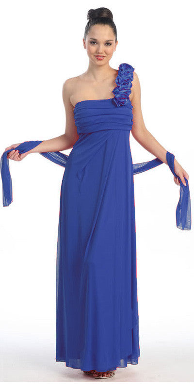 Rosette Strapped One Shoulder Long Royal Blue Column Dress