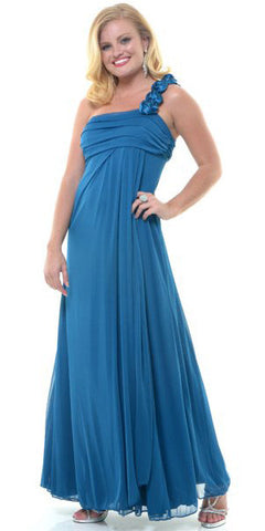 Rosette Strapped One Shoulder Long Teal Column Dress