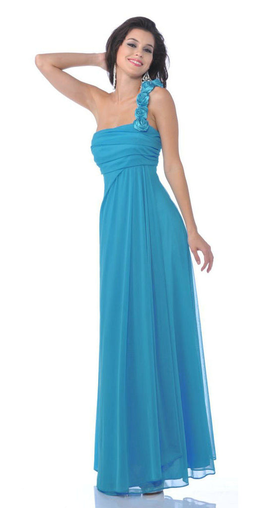 Rosette Strapped One Shoulder Long Turquoise Column Dress