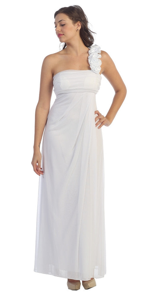 Rosette Strapped One Shoulder Long White Column Dress