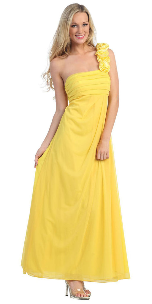 Rosette Strapped One Shoulder Long Yellow Column Dress