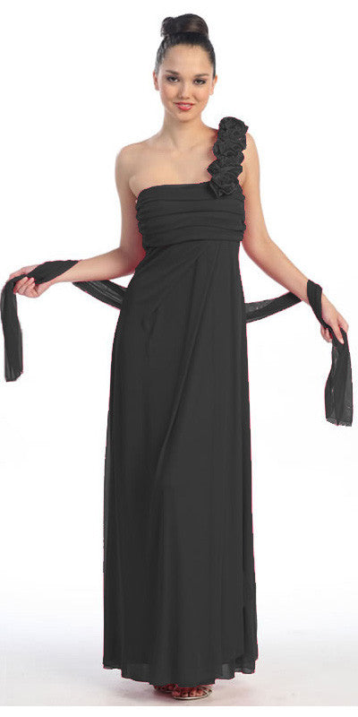 Rosette Strapped One Shoulder Long Black Column Dress