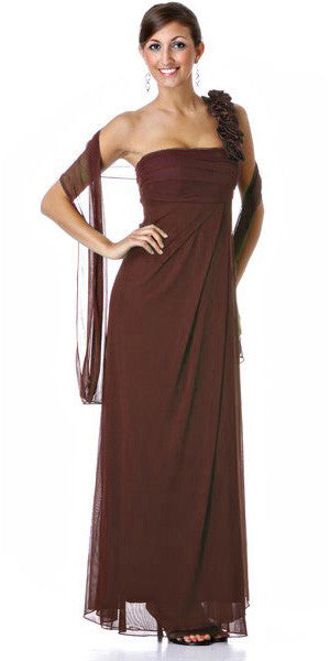 Rosette Strapped One Shoulder Long Brown Column Dress