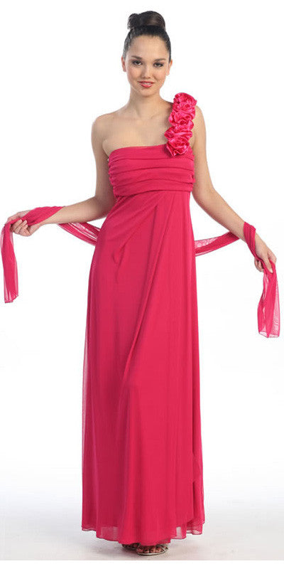 Rosette Strapped One Shoulder Long Fuchsia Column Dress