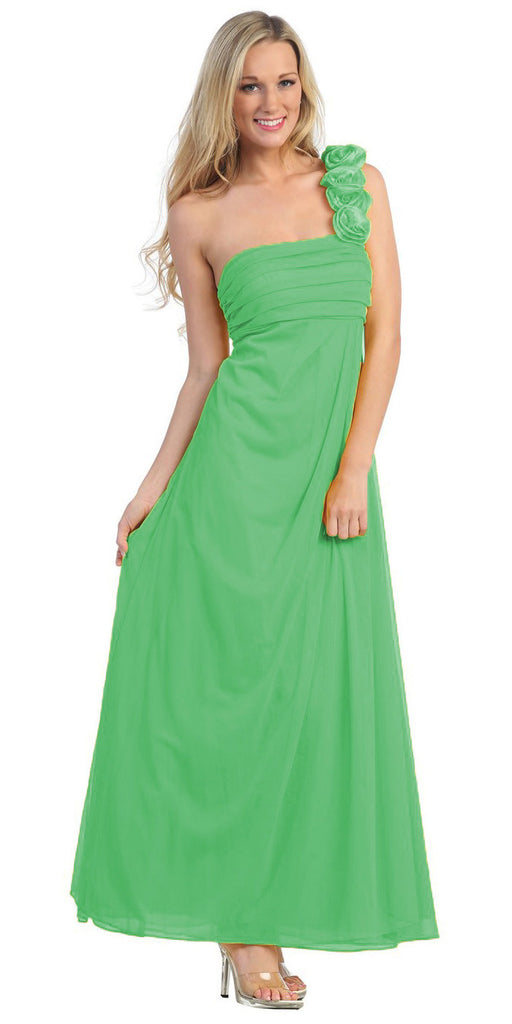 Rosette Strapped One Shoulder Long Green Column Dress