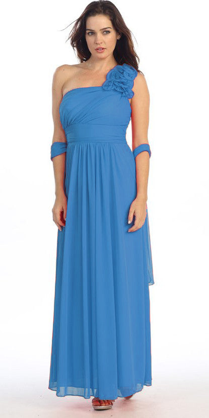 Rosette Strapped Sleeveless Long Turquoise Formal Column Gown