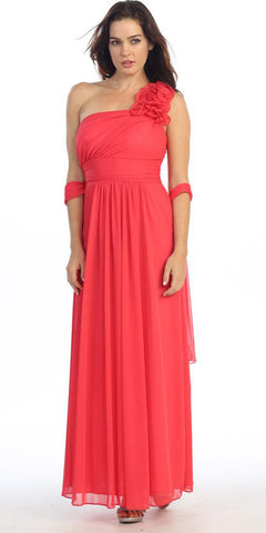 Rosette Strapped Sleeveless Long Coral Formal Column Gown