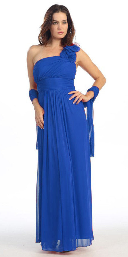 Rosette Strapped Sleeveless Long Royal Blue Formal Column Gown