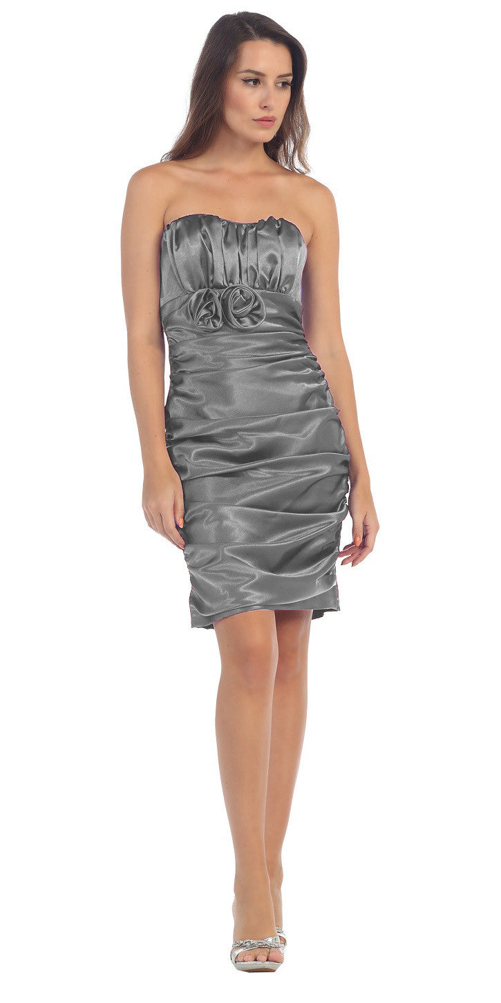 Silver Charmeuse Strapless Sweetheart Cocktail Dress Rosette