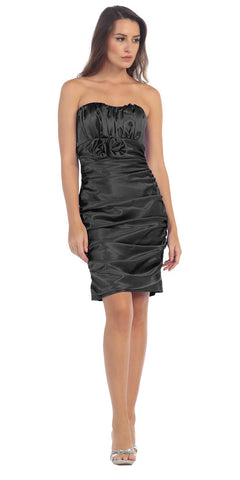 Black Charmeuse Strapless Sweetheart Cocktail Dress Rosette