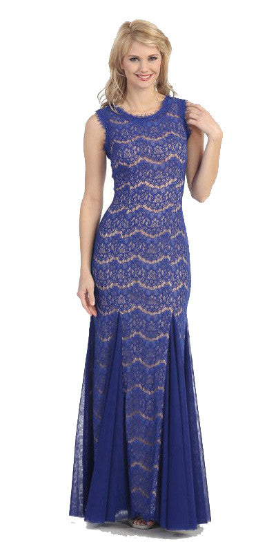 Round Neck Sleeveless Royal Nude Prom Lace Trumpet Gown