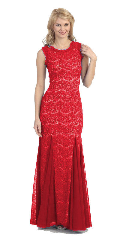 Round Neck Sleeveless Red Nude Prom Lace Trumpet Gown