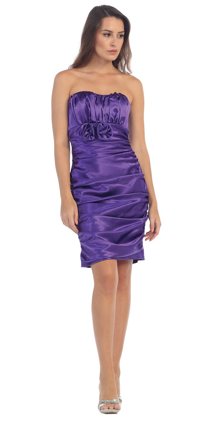 Purple Charmeuse Strapless Sweetheart Cocktail Dress Rosette