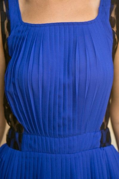 Royal Blue Lace Mesh Pleated Dress Short See Through Back Wide Strap