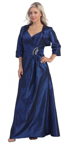 ON SPECIAL - LIMITED STOCK - Royal Blue Marine Ball Gown Matching Bolero Jacket Taffeta V Neck
