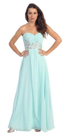 Ruched Bodice Empire Waist Long Aqua Formal Gown