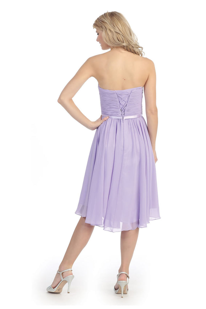 Ruched Bodice Knee Length A Line Lilac Bridesmaid Dress