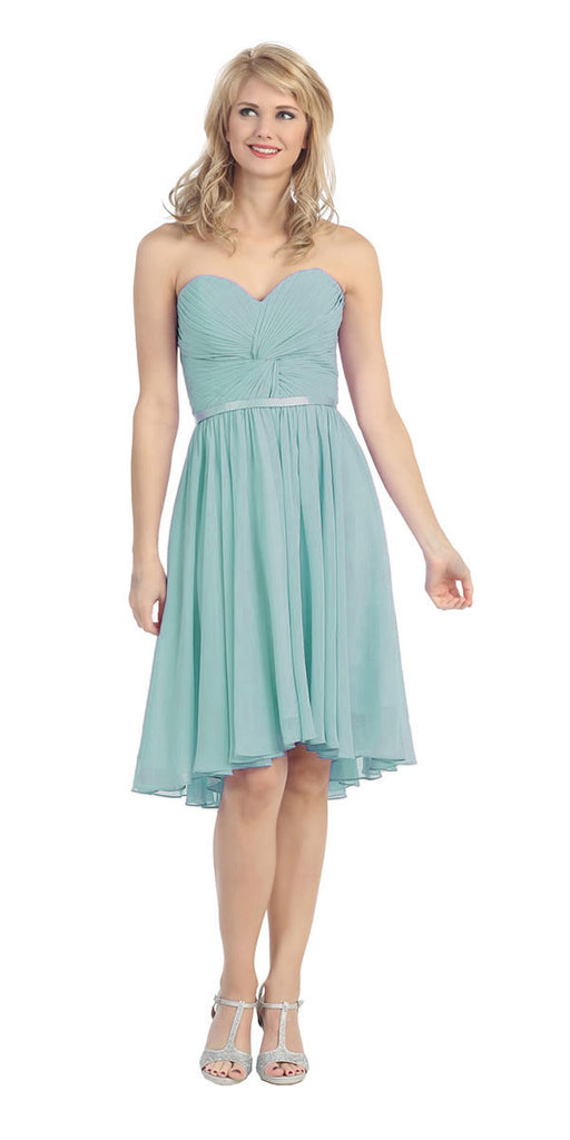 Ruched Bodice Knee Length A Line Mint Bridesmaid Dress