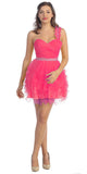 Ruched Bodice Short One Shoulder Tulle Fuchsia Prom Dress