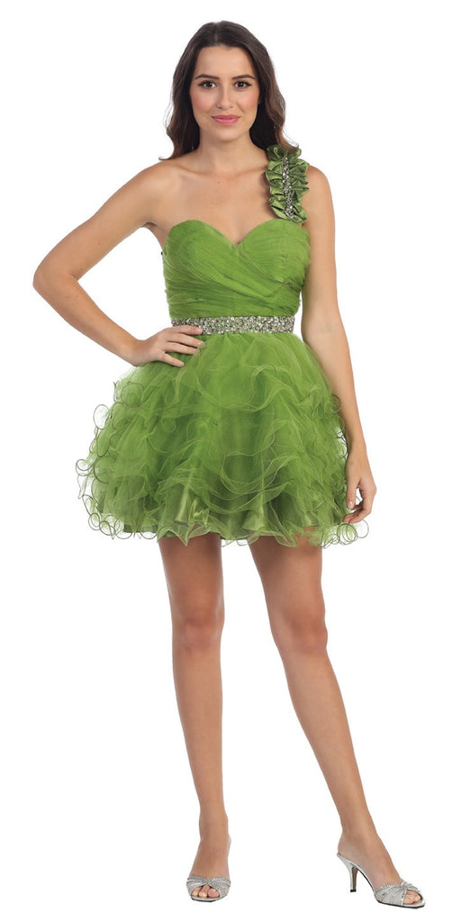 Ruched Bodice Short One Shoulder Tulle Green Prom Dress
