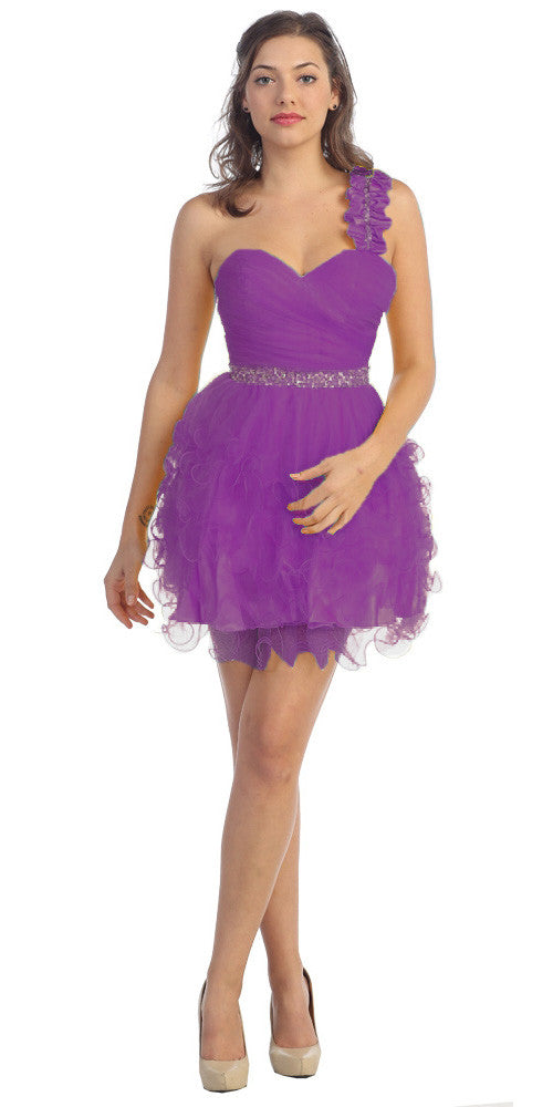 Ruched Bodice Short One Shoulder Tulle Purple Prom Dress