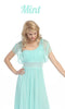 Ruched Bodice Single Strapped Mint A Line Cocktail Dress