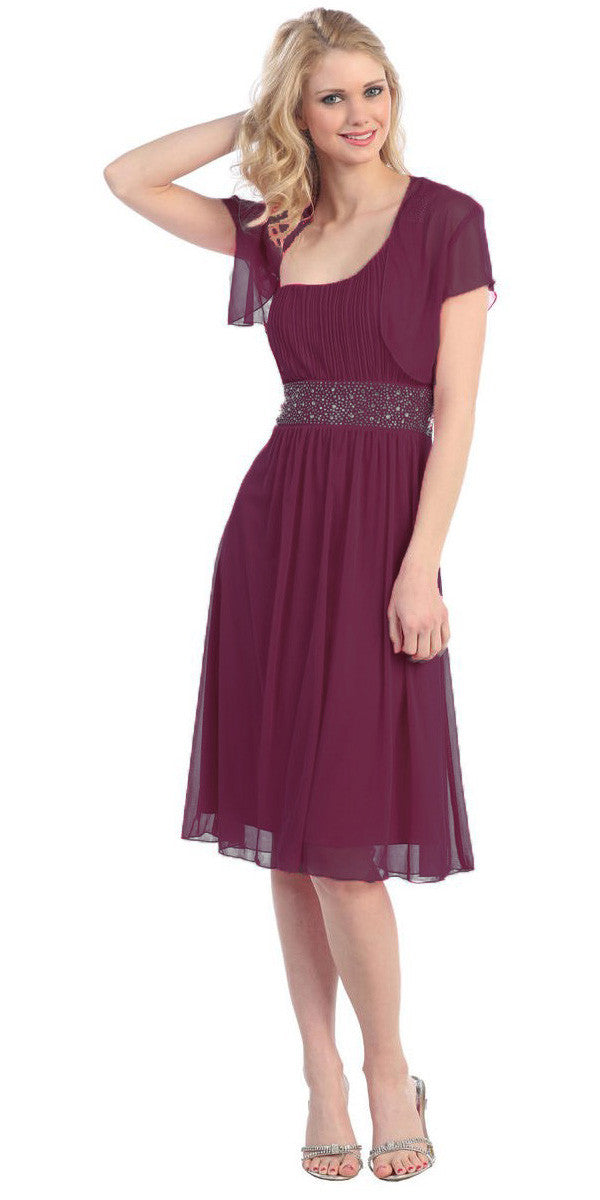 Ruched Bodice Single Strapped Plum A Line Cocktail Dress