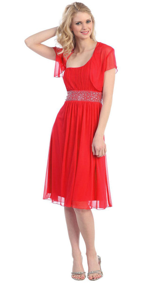 Ruched Bodice Single Strapped Red A Line Cocktail Dress