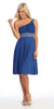 Ruched Bodice Single Strapped Royal Blue A Line Cocktail Dress