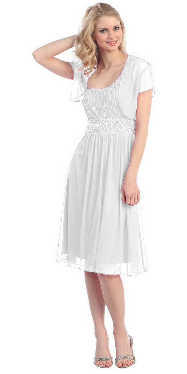 Ruched Bodice Single Strapped White A Line Cocktail Dress