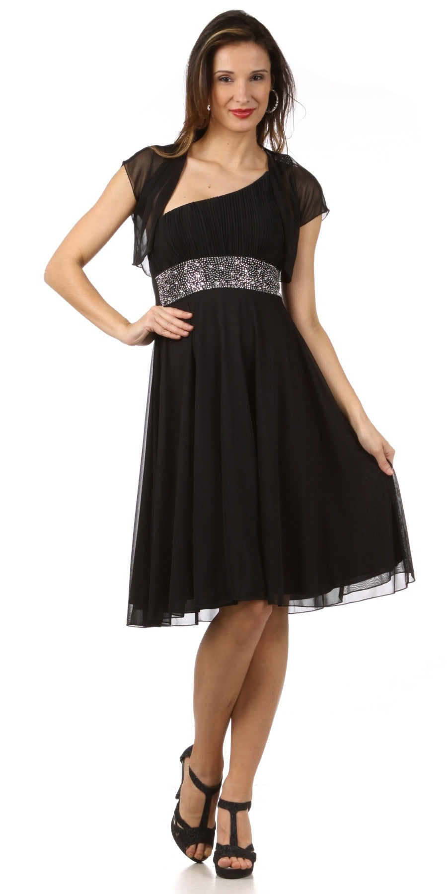 Ruched Bodice Single Strapped Black A Line Cocktail Dress