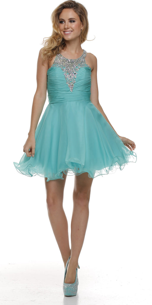 Ruched Bodice Studded Halter A Line Jade Sweet 16 Dress