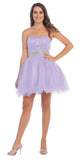 Ruched Bodice Studded Waist Lilac Short Poofy Homecoming Dress