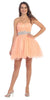 Ruched Bodice Studded Waist Peach Short Poofy Homecoming Dress