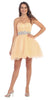 Ruched Bodice Studded Waist Champagne Short Poofy Homecoming Dress