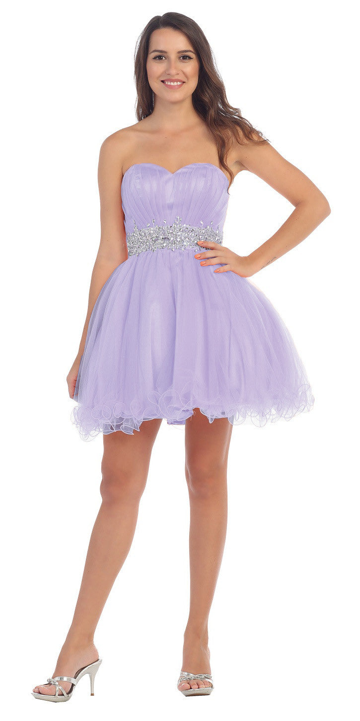 Ruched Bodice Studded Waist Lavender Short Poofy Homecoming Dress