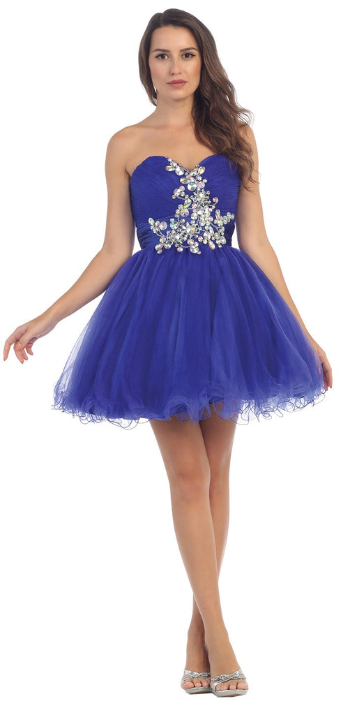 Ruched Sweetheart Studded Short Royal Blue Homecoming Dress