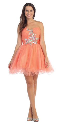 Ruched Sweetheart Studded Short Coral Homecoming Dress
