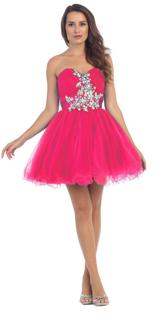 Ruched Sweetheart Studded Short Fuchsia Homecoming Dress