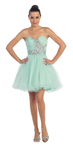 Ruched Sweetheart Studded Short Mint Homecoming Dress