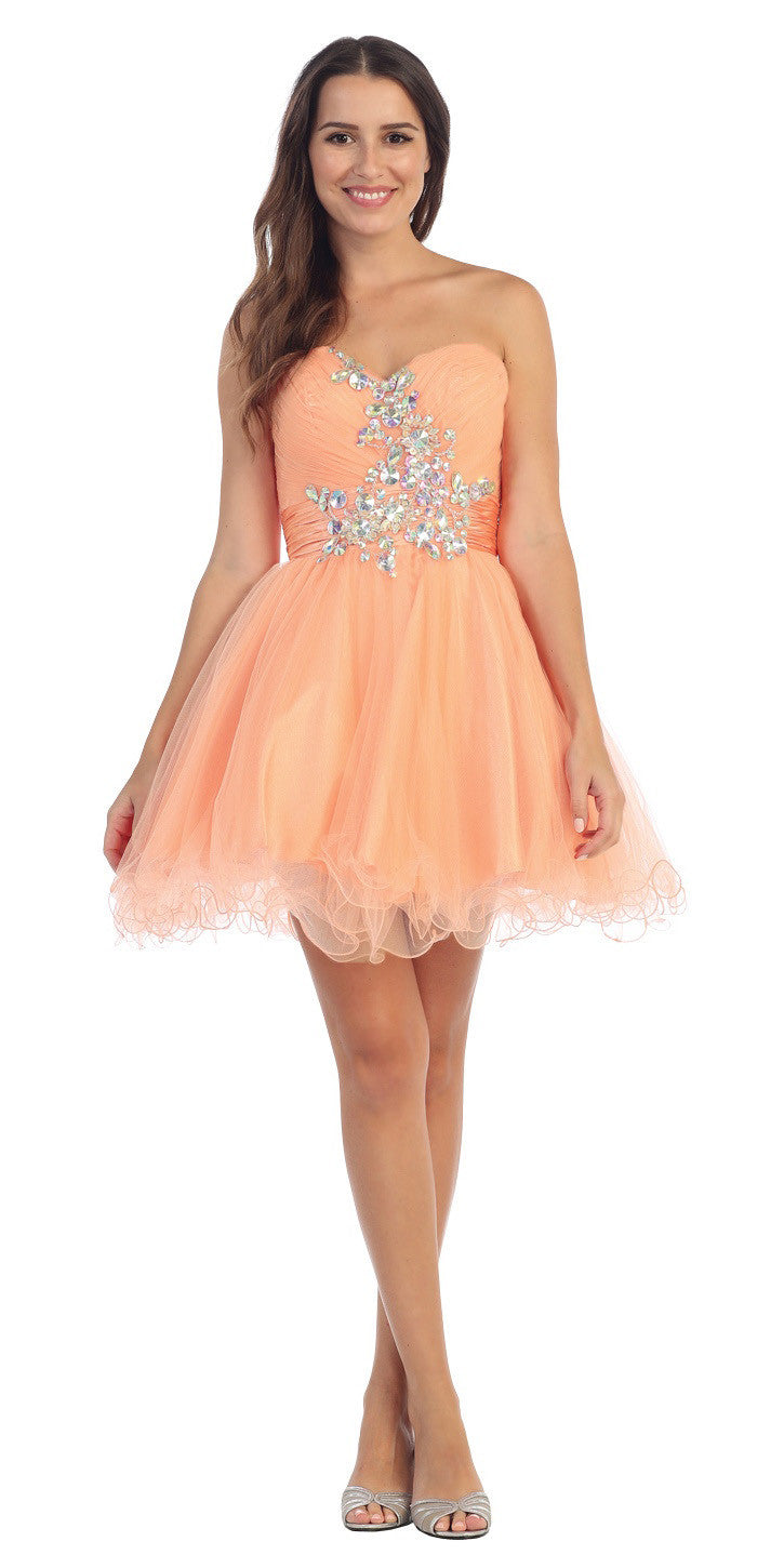 51f2d576b9c Ruched Sweetheart Studded Short Peach Homecoming Dress ...