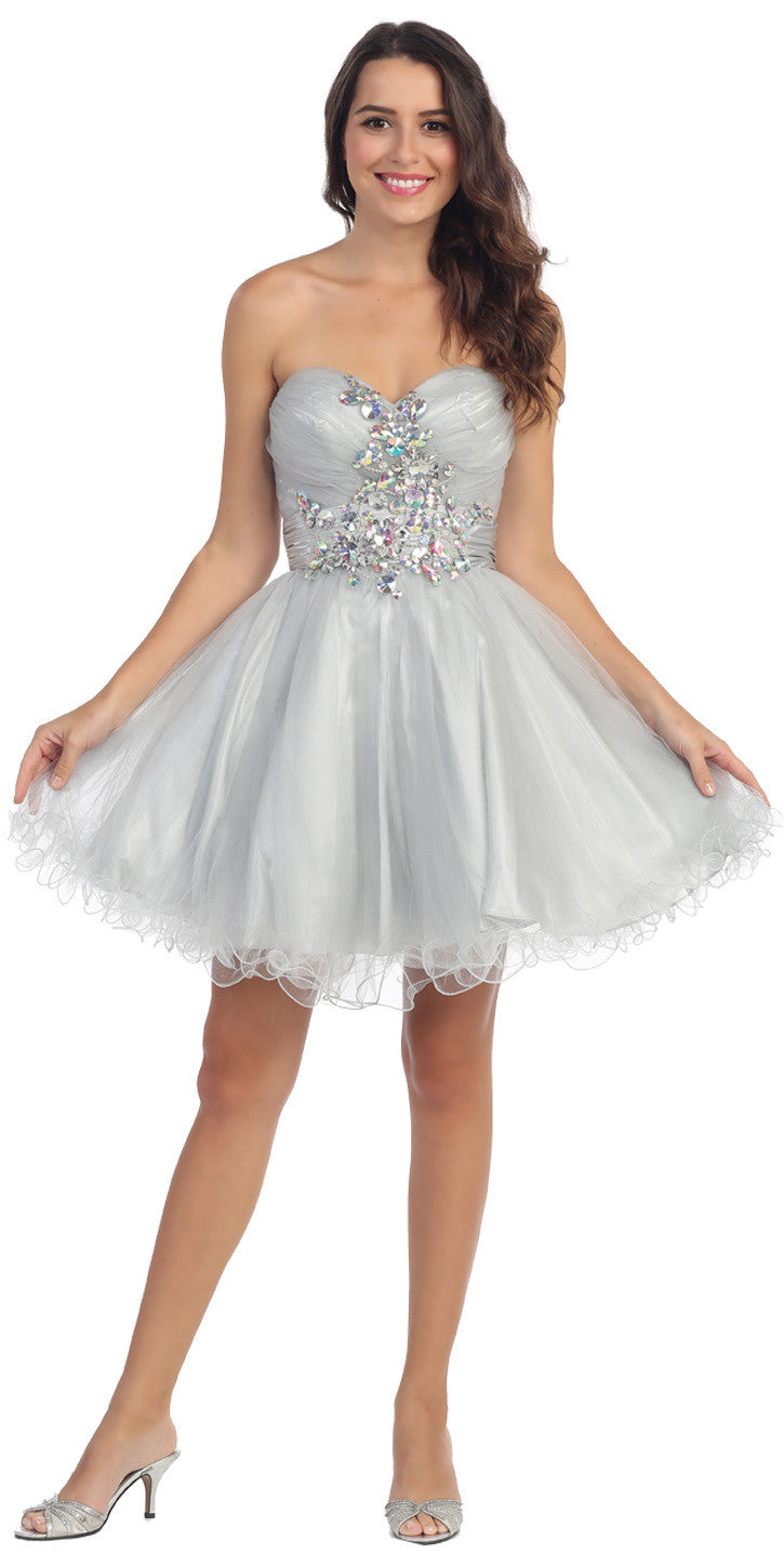 240f3f41a35 Ruched Sweetheart Studded Short Silver Homecoming Dress. Tap to expand