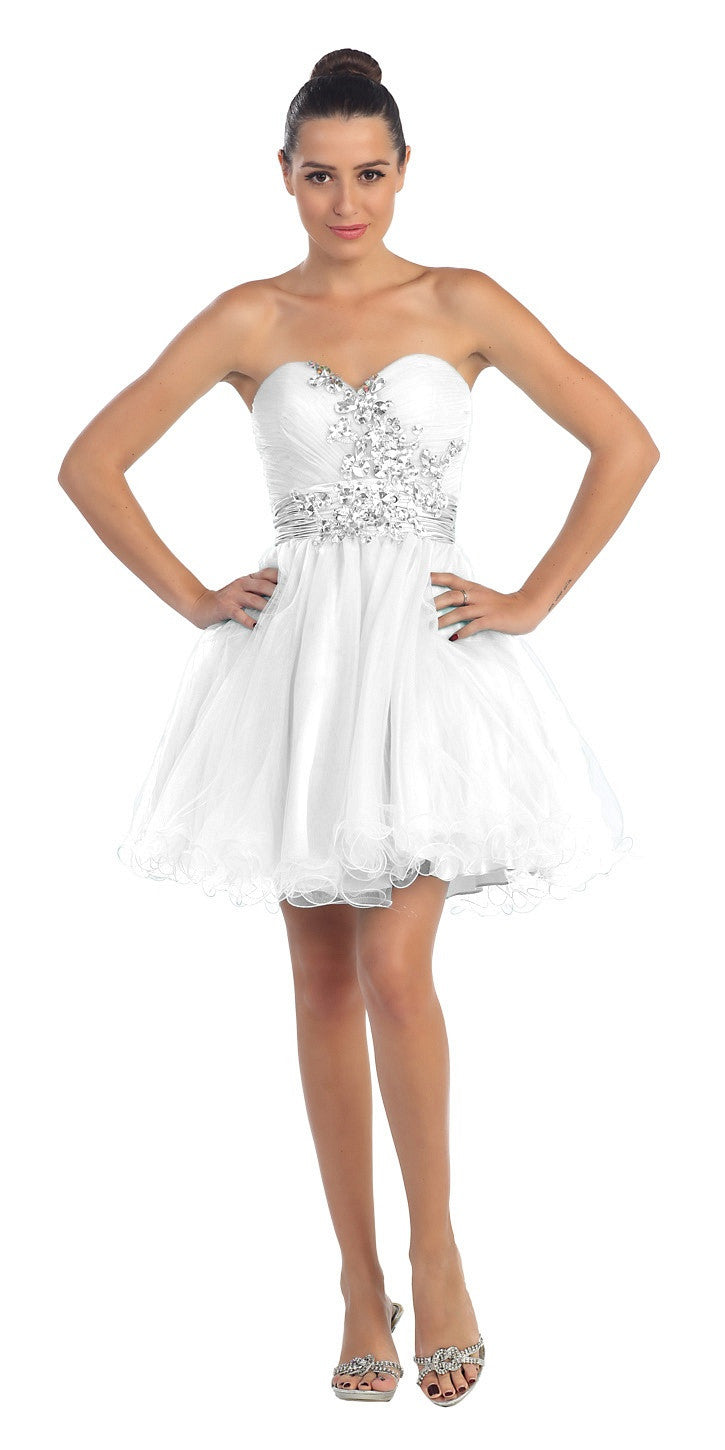 32887e372a8 Ruched Sweetheart Studded Short White Homecoming Dress ...