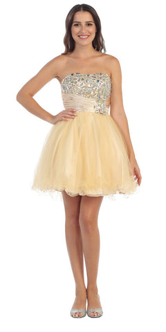 Studded Bodice Ruched Waist Champagne Short Homecoming Dress