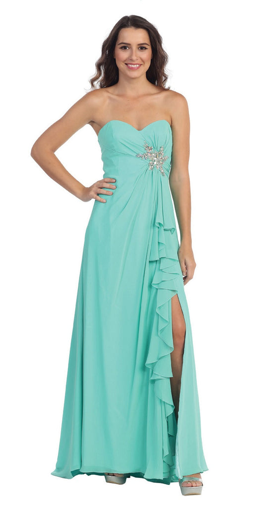 Ruffled Thigh Slit Strapless Long Mint Column Gown