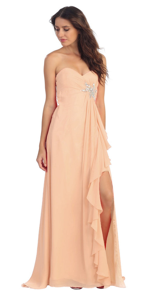 Ruffled Thigh Slit Strapless Long Peach Column Gown