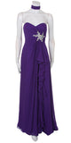 Ruffled Thigh Slit Strapless Long Purple Column Gown