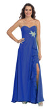Ruffled Thigh Slit Strapless Long Royal Blue Column Gown